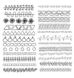Set of hand drawn line borders vector