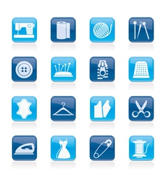 sewing equipment and objects icons vector image