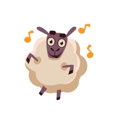 Sheep Dancing With Music vector image