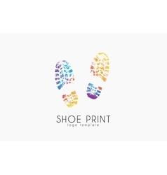 Shoe print logo color print creative logo vector