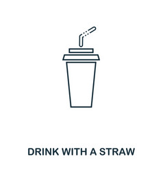Simple outline drink with a straw icon pixel vector