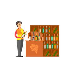 Sommelier bartender with wine bottles set vector