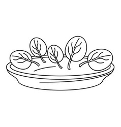spinach plate icon outline style vector image