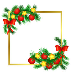 Sprigs christmas tree decorated with gold vector