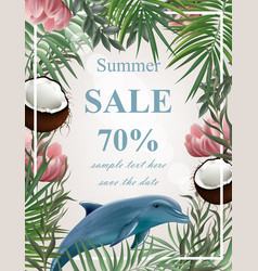 summer sale card with palm tree coconuts dolphin vector image
