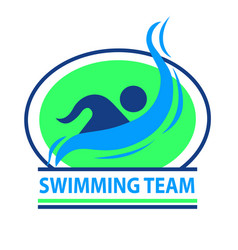 Swimming team logo with a green background vector