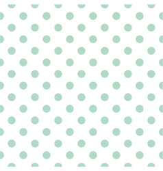 Tile pattern mint polka dots white background vector image