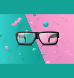 Transparent glasses on abstract scene vector