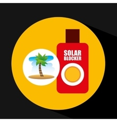Tropical vacation beach solar blocker icon vector