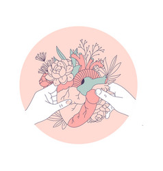 Two hands holding an anatomic heart with floral vector
