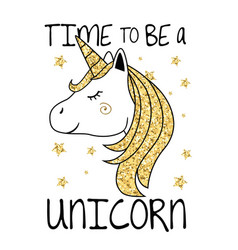 unicorn with gold glitter hair and horn vector image