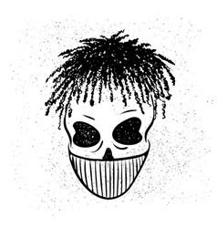 Urban street hip hop gangsta rapper skull in vector