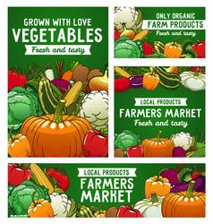 vegetables posters farmer market veggies vector image