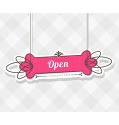 Vintage background with hanging sign and Open word vector image