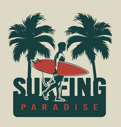 Vintage surfing paradise concept vector