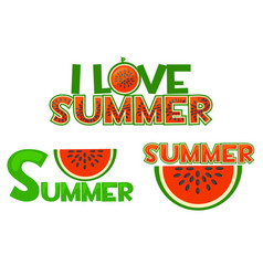 Watermelon i love summer summer vector