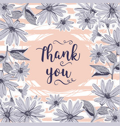 wedding card thank you lettering floral frame vector image