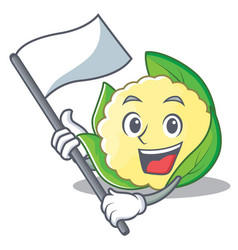 with flag cauliflower character cartoon style vector image