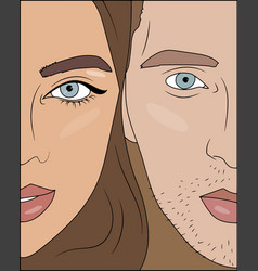 woman and man with blueeyes couple vector image