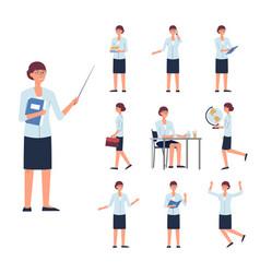 woman school or college teacher character set flat vector image