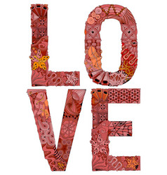 word love for coloring decorative zentangle vector image