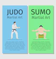 asian martial arts judo and sumo vector image