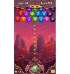 Bubbles shooter game screen vector image