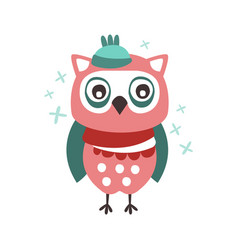 cute cartoon owl bird in a hat and scarf colorful vector image