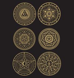 Golden occult mystic spiritual esoteric vector