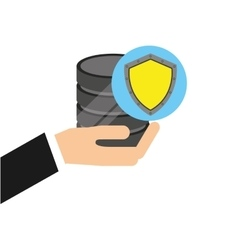 hand holds data shiled protection icon vector image vector image