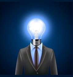 Lamp-head businessman idea concept vector