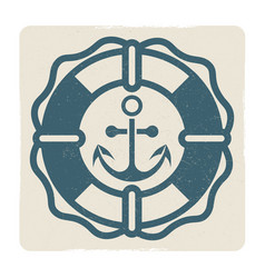 vintage marine label with anchor and lifebuoy vector image vector image