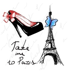 Vintage poster with woman shoe and eiffel tower vector image