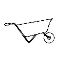 wheelbarrow flat icon monochrome dotted silhouette vector image