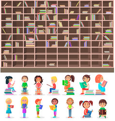 big library book shelf and children-readers set vector image