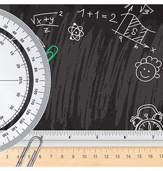 Creative chalkboard school background with rulers vector image vector image