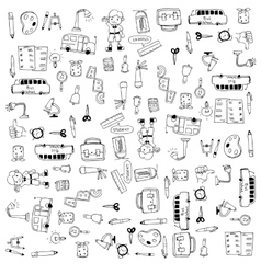 Flat hand draw education tools doodle vector image vector image