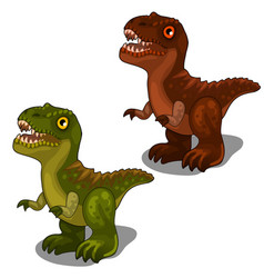 green and brown dinosaur in cartoon style vector image vector image