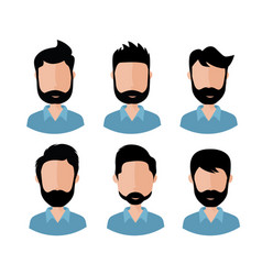 man faces with various hair style and beard vector image