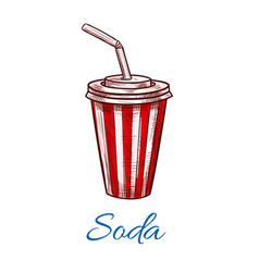soda drink striped fast food paper cup icon vector image vector image