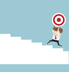 businessman and dartboard running up on stairs vector image