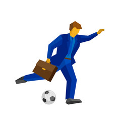 businessman football player running with the ball vector image