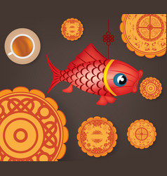 chinese mid autumn festival background with carp vector image vector image