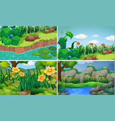 four scenes with flowers in garden vector image