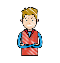 Drawing portrait young man blond with cross arms vector