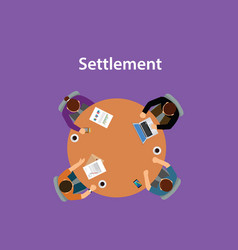 Settlement concept discussion with vector