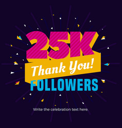 25k followers card banner post template for vector