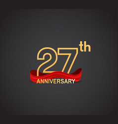 27 anniversary logotype design with line golden vector