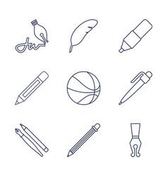 9 pen icons vector