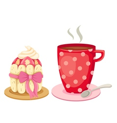 Afternoon tea with a gourmet cupcake vector